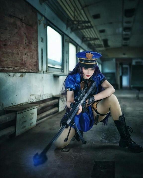 L 英雄联盟 皮城女警 凯特琳 Cosplay-丰满女警视觉盛宴 LOL凯特琳